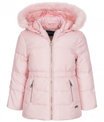 Guess Daunenjacke mit Fake-Fellkapuze in pink