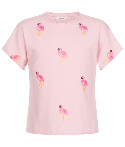 Guess Oversize Shirt mit Pailletten Flamingos - rosa