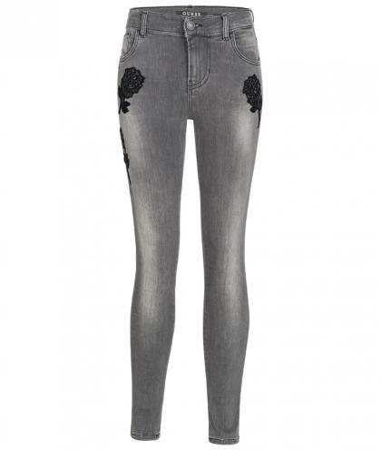 Guess Skinny Jeans mit Glitzer- Rosen in grau