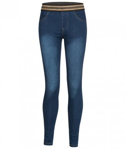 Guess Jegging mit Glitzerbund in blau