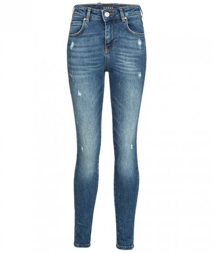 Guess High Waist Skinny Jeans mit Strass in blau