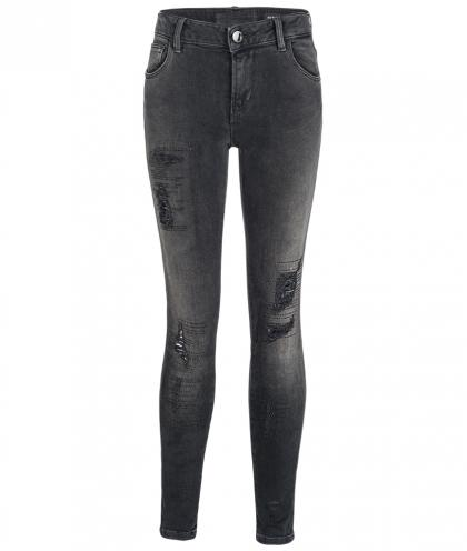 Guess Destroyed Jeans mit Strass in schwarz