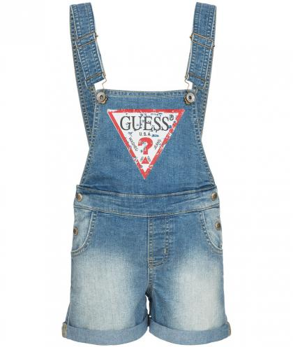 Guess denim dungarees with logo print in blue