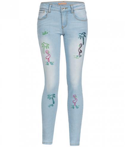 Guess Skinny Fit Jeanshose mit Stickereien und Pailletten