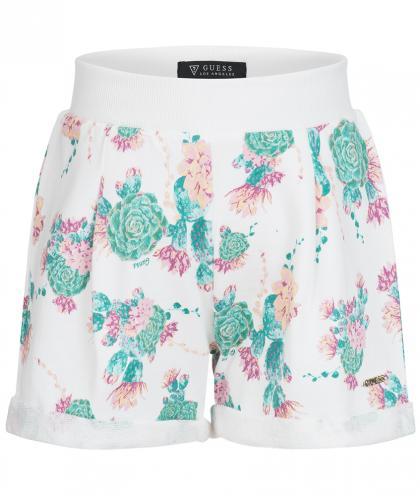 Guess Shorts mit Blumen Allover Print in weiss