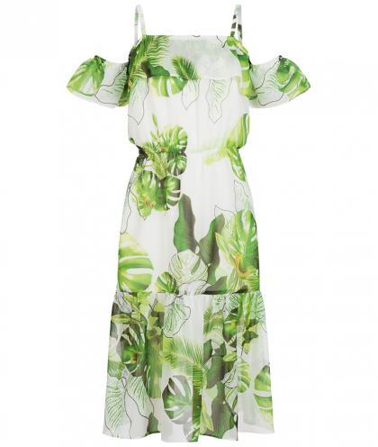 Langes Kleid mit Volant und Blumendruck