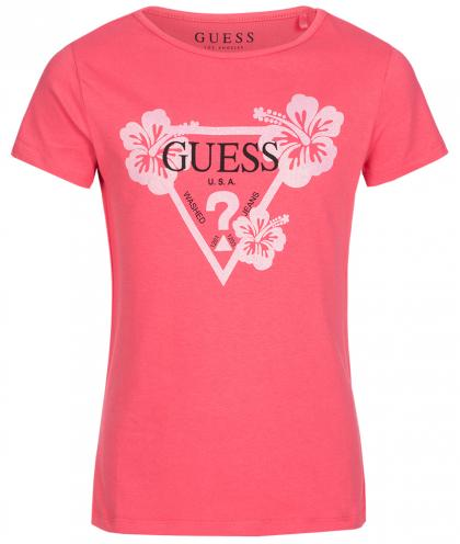 Guess logo Shirt with sparkles print in red