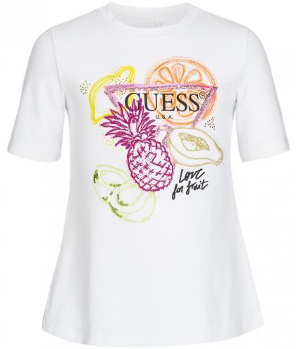 Guess Shirt mit Pailletten und Strass in weiss