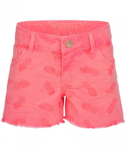 Guess Shorts mit Ananas-Stickereien in neonrosa