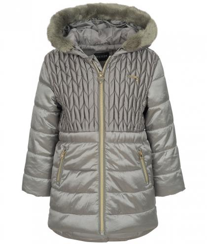 Guess quilted coat with fake fur hood in dark grey