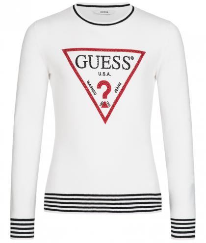 Guess sweatshirt with pearl logo  in white