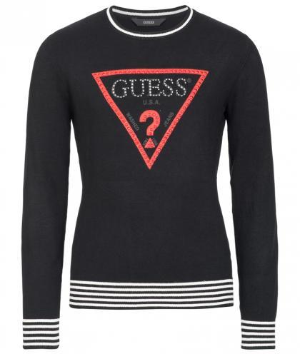 Guess Sweatshirt mit Perlen Logo in schwarz