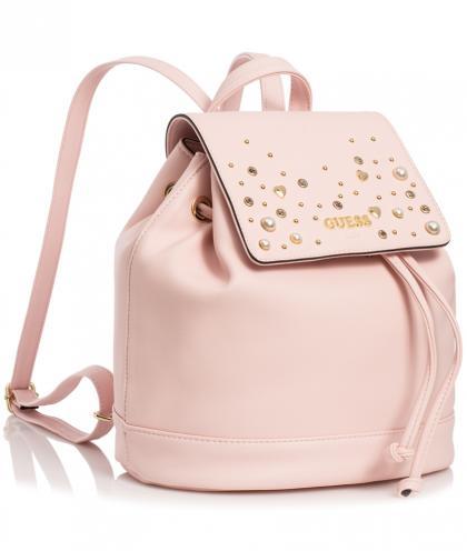 Guess Rucksack mit Nieten und Perlen - rosa