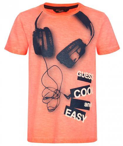 Guess T-Shirt mit Kopfhörer Print - orange