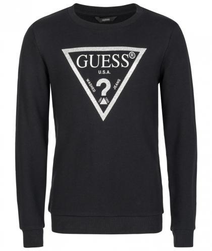 Guess Sweatshirt mit Glitzer-Logo Print in schwarz