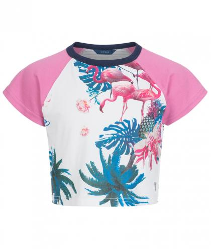 Guess Cropped Shirt mit Flamingos in weiss