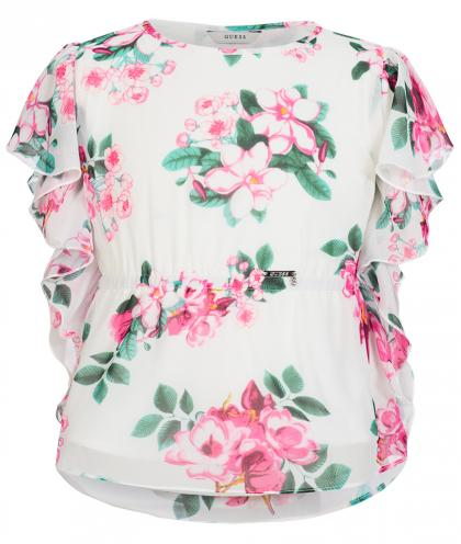 Elegante  Tunika in weiss  mit Blumendruck