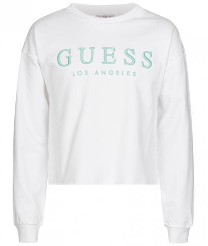 Guess Cropped logo sweatshirt  - weiß