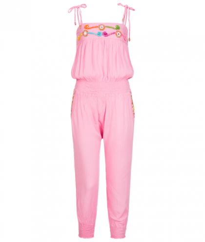 Hot Lava Jumpsuit with beads and sequins in pink