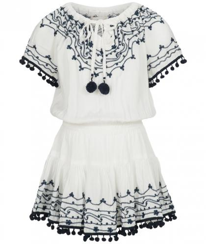 Hot Lava handmade dress with embroidery in ivory/navy