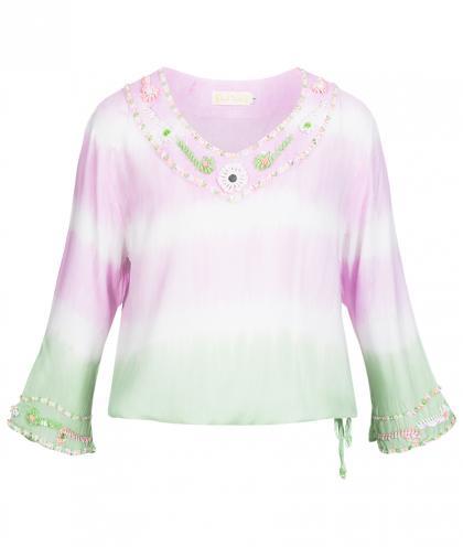Hot Lava Bluse Handmade mit Perlen und Pailletten