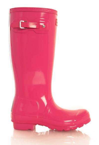 Hunter Original Kids Wellington Boots glänzend in bright pink
