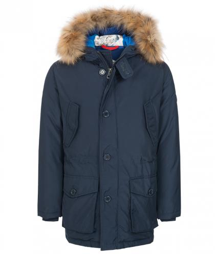 Hyros down parka with real fur hood in navy