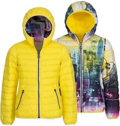 Reversible jacket NewYork with downs in yellow