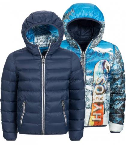 Reversible jacket Snowboard with downs in navy