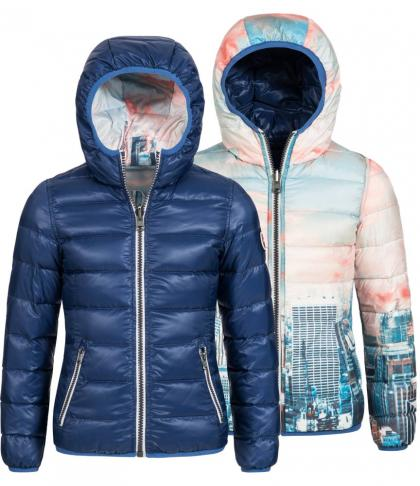 Reversible jacket New York with downs in blue