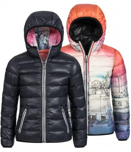 Reversible jacket Cat with downs in black