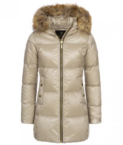 Hyros longer down jacket with real fur - champagne