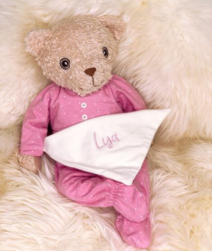 HUGZZEEE Friends Teddy Bobbi, personalisierbar - rosa