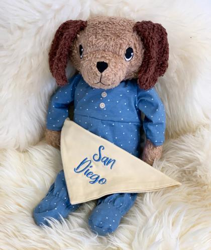 HUGZZEEE Friends Hund Ticki, personalisierbar - blau