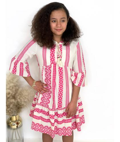 Dixie Volant Midi Kleid - creme/pink