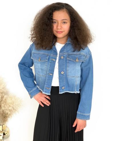 Dixie Cropped Cut Jeansjacke  -  blau