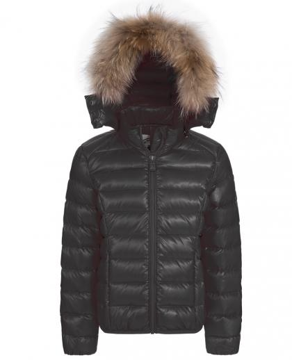 Jott - down jacket Opale with real fur hood in black
