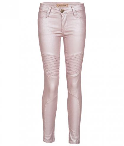 Just Blue Leder-Optik Jegging Atenea Moto in rosa