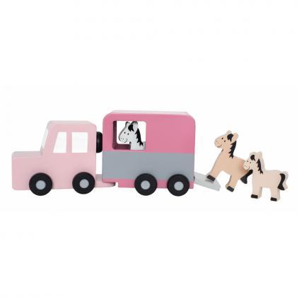 Jabadabado Holz Auto mit Pferdeanhängerr - pink
