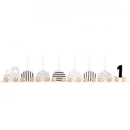 Jabadabado Holz Geburtstagskerzenzug - schwarz/weiß