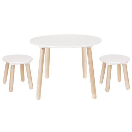 Jabadabado Holztisch mit 2 Hockern - weiß