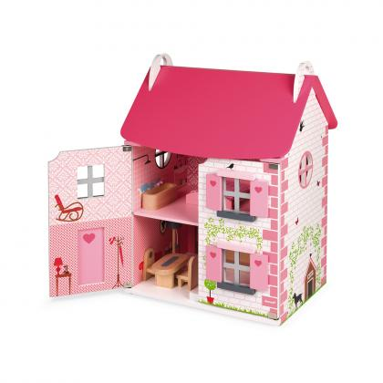 Janod Holz Puppenhaus Mademoiselle - rosa