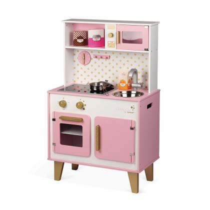 Janod wood kitchen Candy Chic with sound and light effects - pink