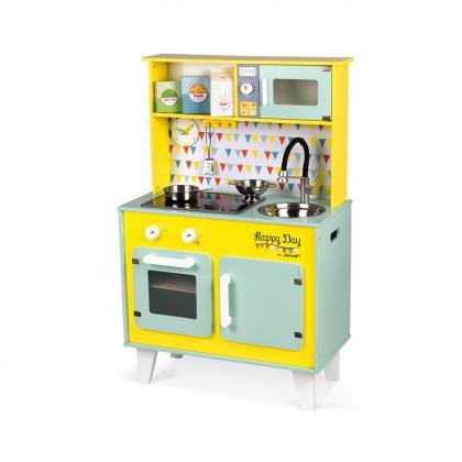 Janod Holzküche Happy Day mit Geräusch und Lichteffekten - gelb