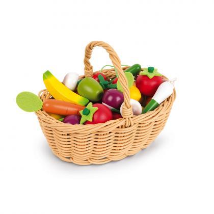 Janod Holz Früchte- und Obstset im Korb - bunt