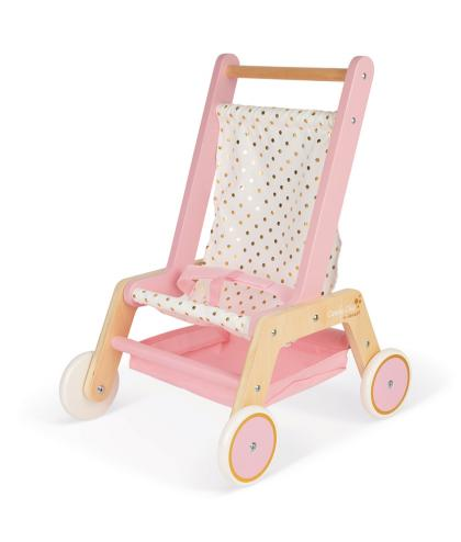 Janod Glitzer Puppen Buggy Candy Chic aus Holz  - rosa
