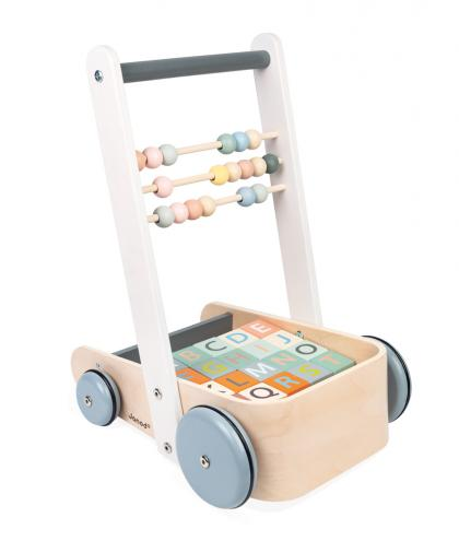 Janod Sweet Cocoon Laufwagen mit Buchstaben und Rechenschieber - bunt