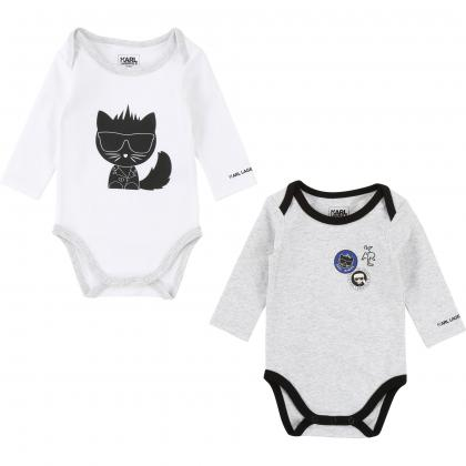 Karl Lagerfeld Baby Body Set in grau-weiss