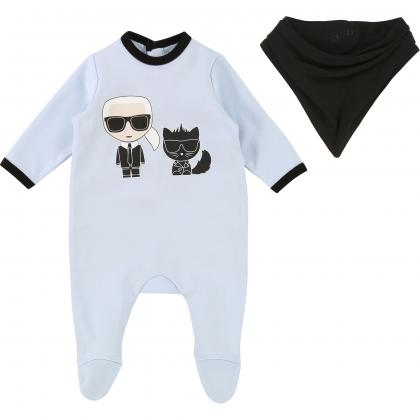 Karl Lagerfeld baby romper with bib in light blue