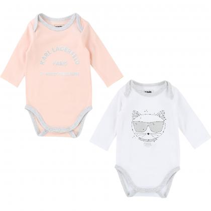 Karl Lagerfeld Baby Body Set in rosa-weiss